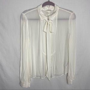 H&M creamy white shear blouse